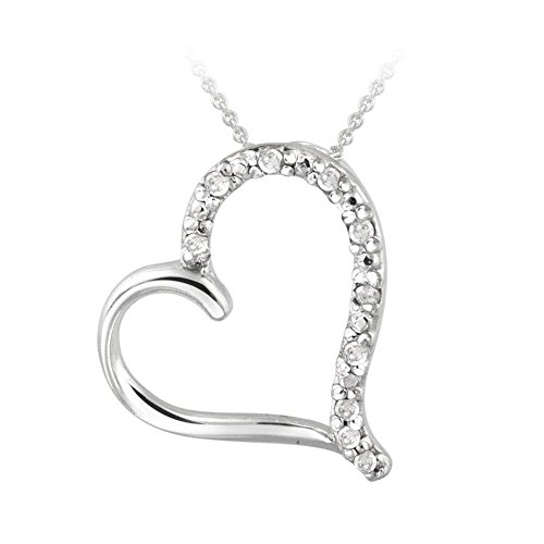 Glitzs Jewels Sterling Silver Simulated Diamond Open Floating Heart Necklace, 18''