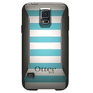 CUSTOM Black OtterBox Commuter Series Case for Samsung Galaxy S5 - Blue & White Bold Stripes