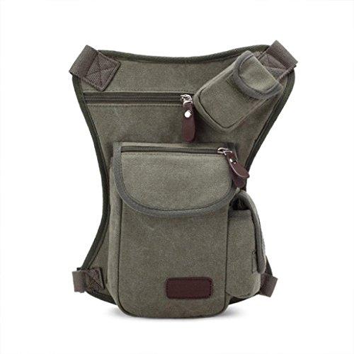 Pocciol Useful Multifunction Outdoor Sport Leg Bag Canvas Waist Bag Money Belt Fanny Pack (Army Green)
