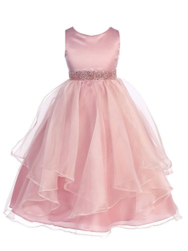 (Chic Baby Girls Asymmetric Ruffles Satin/Organza Flower Girl Dress -Rose-12-(CB302))