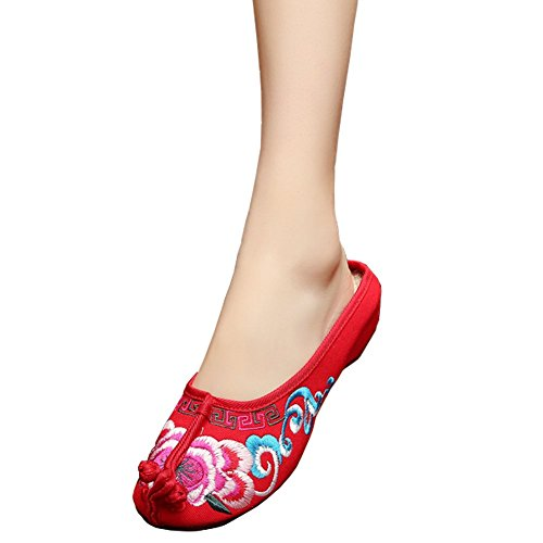 Fereshte Girls Chinese Style Embroidery Round Toe Casual Walking Slippers Red EU 38 - US 7.5 (Dance Costumes From China)