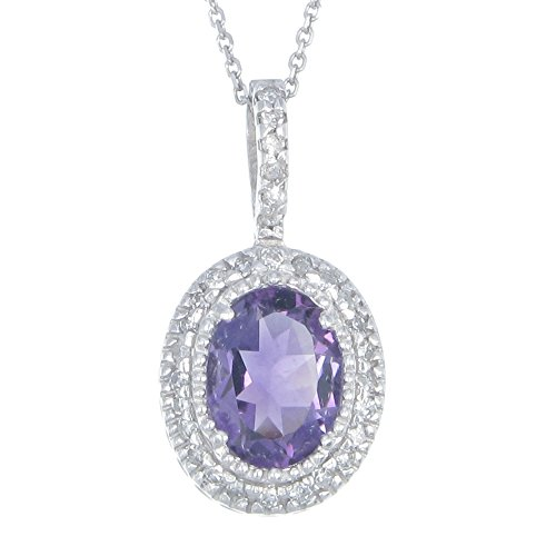 1.30 CT Amethyst and Diamond Pendant in 14K White Gold With 18