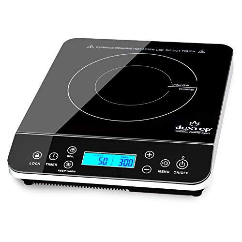 Duxtop Portable Induction Cooktop, Countertop Burner Induction Hot Plate with LCD Sensor Touch 1800 Watts, Silver