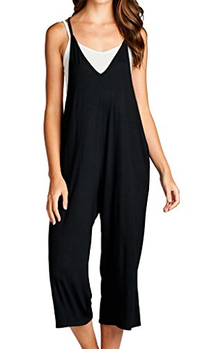 Loving People Solid Spaghetti Strap V Neck Loose Fit Capri Jumpsuit, Large, Black -
