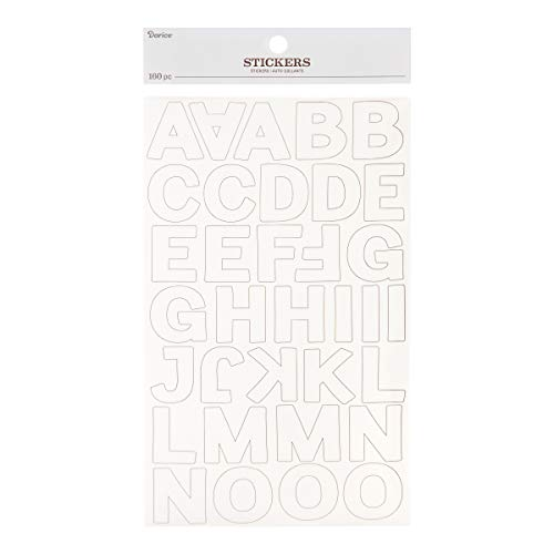 Darice 30052924 Large Block Font Letter Stickers: Cloud White, 160 pc