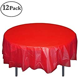 "HOMEE Plastic Tablecloth 84"" Premium Round Table Cover Disposable Table Protector Cover for Party Wedding and Banquet - 12 Pack (Red)"