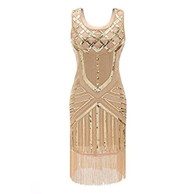 Suroomy Women's Flapper Dress 1920s Great Gatsby Inspired Cocktail Dress Tassel Beaded