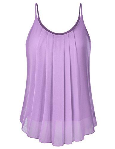 EIMIN Women's Pleated Chiffon Layered Sleeveless Cami Tank Tunic Top Lavender 2XL