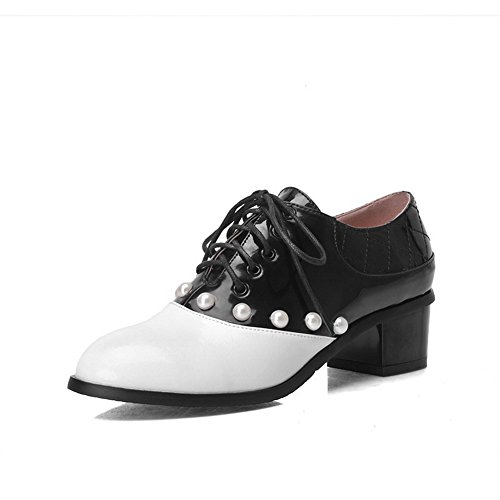 Shoes up Kitten Lace Women's White WeiPoot Closed Toe Heels Leather Round Solid Pumps Patent B7nw6Yz