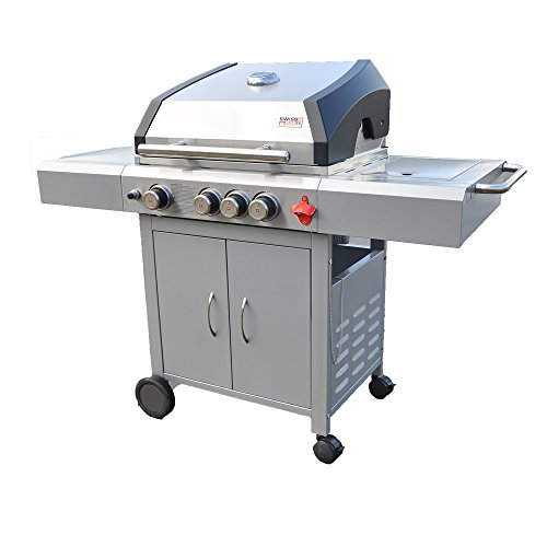 (Swiss Grill A3 51,000-BTU Arosa 3-Built with Tubular Burners and Grizzler Side Burner, Stainless Steel)