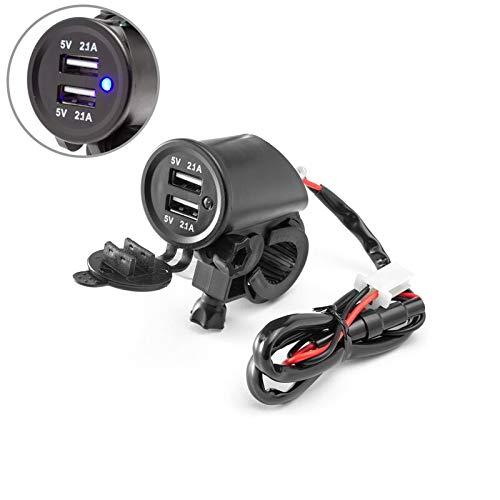(Motorcycle 12V Twin USB Power Socket for 22-25mm Handlebars for Quad ATV Trike Buggy)