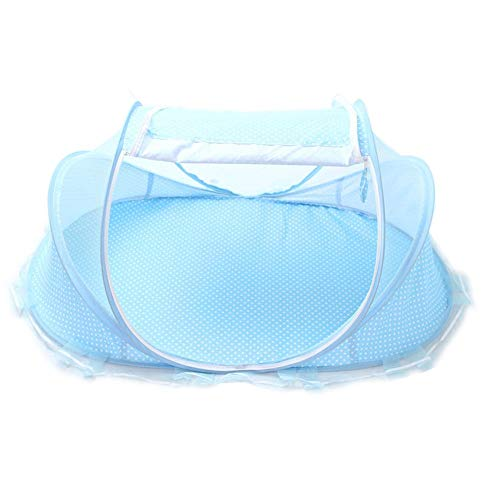 Fine Thin Summer Mosquito Net for Children,Portable Folding Baby Travel Bed Crib Baby Cots Newborn Foldable Crib (Blue)