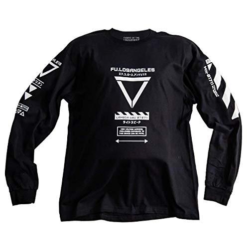 Fabric of the Universe Japanese Streetwear Techwear Long Sleeve T-Shirt (X-Large) Black