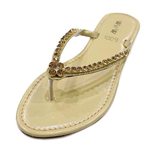 Sur Diamante Dames W W Plat Femmes amp; Glissement Confort Du L'or Sandales suisse Soir Chaussures Taille q0fAHxn