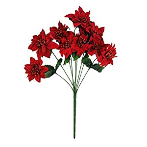 MM TJ Products Artificial Large Velvet Poinsettia Bouquet; 9 Stems 65