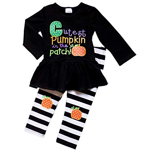 So Sydney Girls Halloween Pumpkin, Candy Cat - 2 Piece Ruffle Pants Outfit (XS (2T), Cutest Pumpkin) ()
