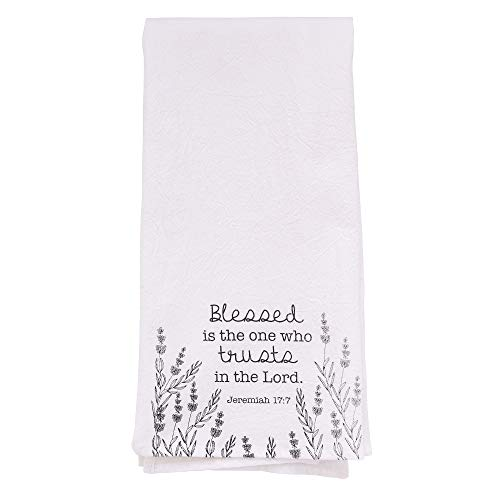 Christian Kitchen Towel, - Trust in The Lord Tea Towel - Jeremiah 17:7 Printed Flour Sack Cotton Kitchen Table Linens