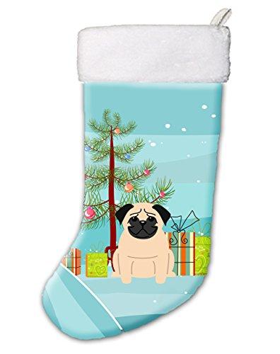 Caroline's Treasures BB4133CS Merry Christmas Tree Pug Fawn (Pug Christmas Stocking)