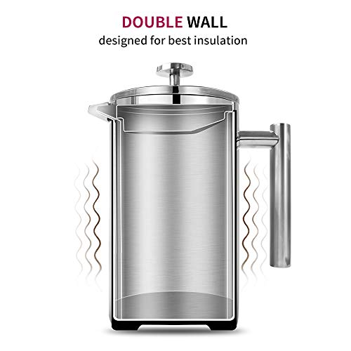 Large French Press, 50 oz French Press Coffee Maker 1500ML with Double-Wall Insulated Stainless Extra Filter Screens Dishwasher Safe