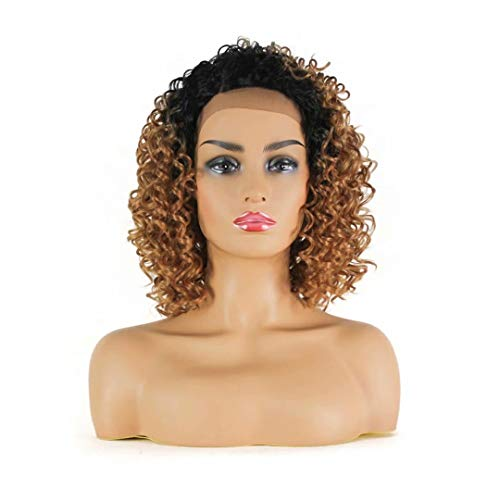 thetic Lace front Wigs Ombre Light Brown Bob Lace Wig With Natural Side Parting Deep Curly L Part Kanekalon Futura Fiber Wig 12'' (Ombre strawberry blonde-OT27) ()