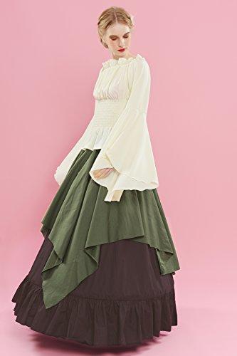 71b33a515efa ROLECOS Womens Retro Renaissance Medieval Dress Trumpet Sleeve Peasant  Dresses Army Green M