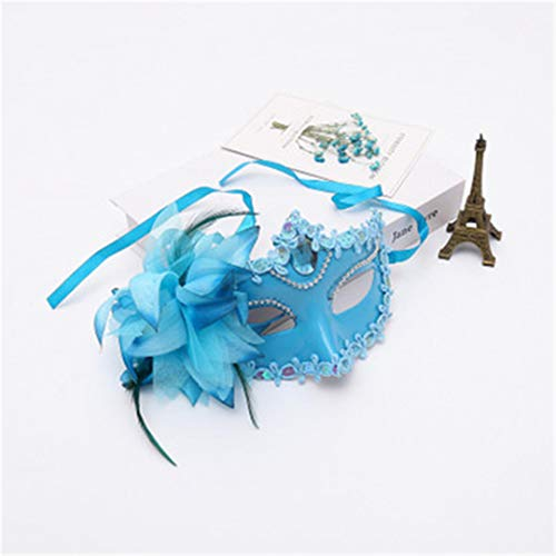 PATY&COSMSK Diamond Venetian Mask Feather Flower Wedding Carnival Party Performance Costume Lady Mask Masquerade Blue -