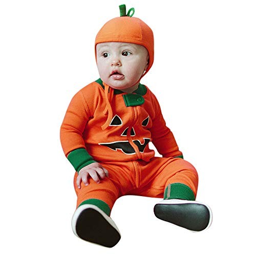 Toddler Baby Girls Boys Brother and Sister Halloween Clothes Long Sleeve Romper Jumpsuit Cap Outfit (80, Orange)