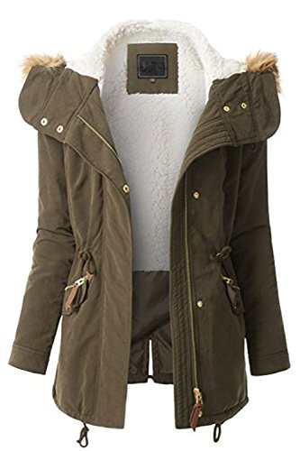 FASHION BOOMY Womens Zip Up Military Anorak Jacket W/Hood (Large, LW-Olive) ()