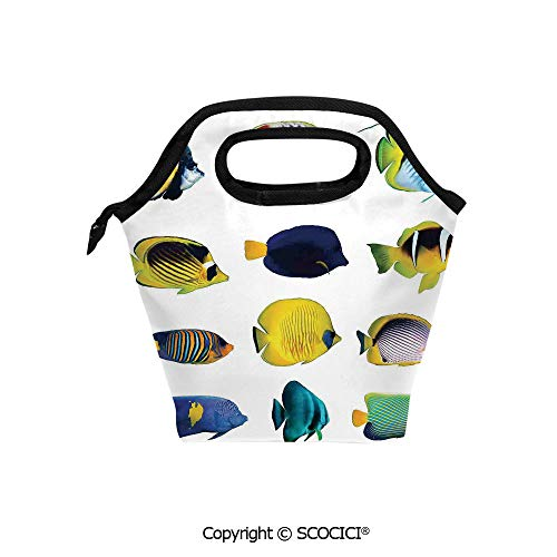 Reusable Insulated Lunch Bags with Pocket Tropical Fish Figures with Anemonefish Dive Nemo Aqua Home Decor for Adults Kids Boys Girls.