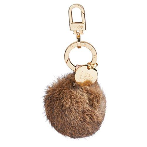 Luxe B Keychain Pom Pom & Handbag Fur Bag Charm Fur Pom Pom (Rabbit) Pom Pom Keychain High-End Fashion Luxury Gold Keychain (natural) ()