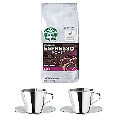 Deluxe Espresso Bundle With 1 Bag of Starbucks Espresso Roast Ground Coffee Plus an IKEA Kalaset Stainless Steel Coffee Cups Set and Stainless Steel Saucers.