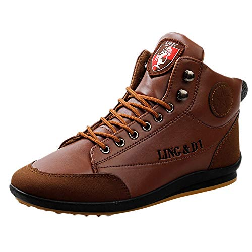 Goodtrade8 Clearance Men Leather Boots Sports Sneaker Casual Shoes British Style Vintage Shoes Winter Spring Autumn Clothes Accessories (9, Brown) from Goodtrade8 Clearance