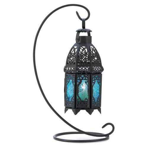 Gifts & Decor Night Hanging Table Lantern Candle Holder, Sapphire