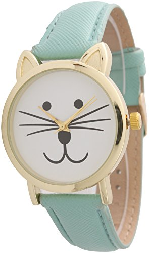 Cat Face Leather Strap Watch Large Watch Cat Face (Tiffany - And Tiffany Gold Blue