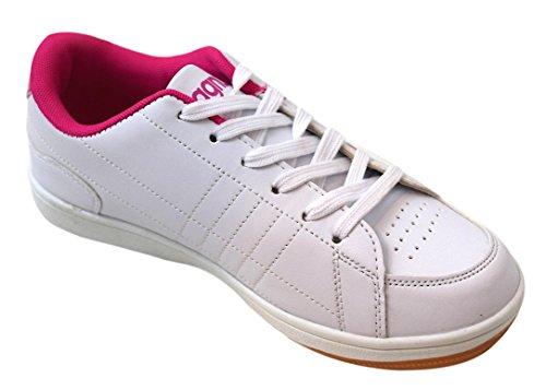 Magnus Damen Sportschuhe Gr. 36-41 mit Muster Freizeitschuhe mit Gummi-Laufsohle und Gepolstertem Schaft weiss/pink