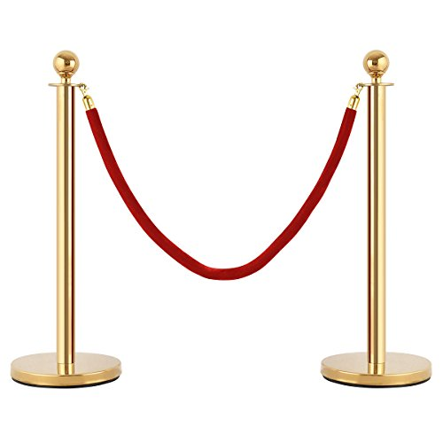 KCHEX>>>6Pcs Stanchion Posts Queue Pole Retractable 4 Velvet Ropes Crowd Control Barrier>This is our top stainless steel stanchion posts is anti-rust and flawless and the poles nice and shiny.it by KCHEX (Image #1)