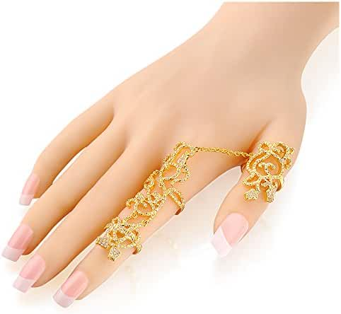 Mytys 18k Gold Plated Hollowed Flower Armor Adjustable Crystal Full 2 Finger Rings