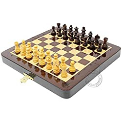 House of Chess 6.4 Inch Wooden Magnetic Folding Travel Chess Set | Board - Algebraic Notation - Two Extra Queens - Handmade - Premium Quality