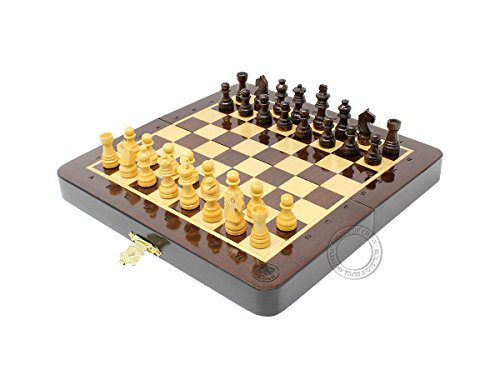House of Chess 6.4 Inch Wooden Magnetic Folding Travel Chess Set | Board - Algebraic Notation - Two Extra Queens - Handmade - Premium (Pencil Board Set)