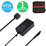 Surface Pro Surface Laptop Charger, 44W 15V 2.58A Power Supply for Microsoft Surface Go Surface Laptop Surface Pro 3 Pro 4 & Surface Book Book 2 with 6.2Ft Power Cord Cable and a Travel Pouch