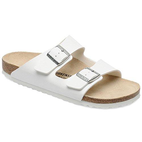 (Birkenstock Women's Arizona Double Buckle Cork Sandals White Size 38)