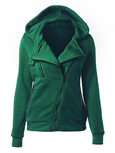 Choies Women Green Zip Up Fleece Slim Fit Hooded Coat Warm Pocket Hoodie Jacket L