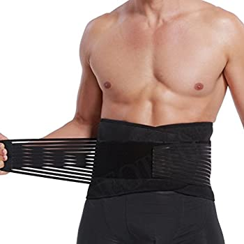 Lumbar Support with Double Banded Strong Compression Pull Straps, Breathable Waist/Lower Back Brace - Black & Blue Color (Size XXXXL)