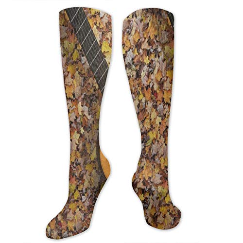 (Socks Guitar On Vintage Autumn Forest Leaves Cool Womens Stocking Accessory Sock Clearance for Girls)