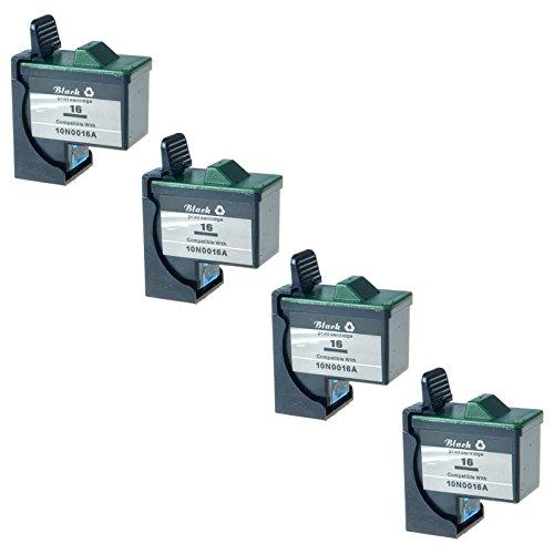 KCMYTONER Remanufactured for 16 10N0016 Ink Cartridge in Bulk Packing for X75 X1185 X1250 X1270 X2250 Z25 Z33 Z35 Z605 Z611 Z615 Z645 Printer (4 Pack)