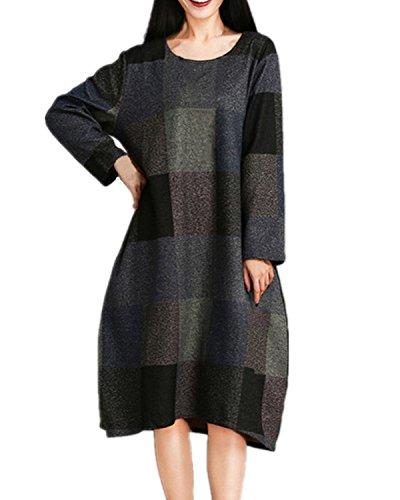 Grey Sleeve One Loose Maxi Piece Celmia Check Women's Vintage Long Check Plaid Dress Long q7PAqxHwn