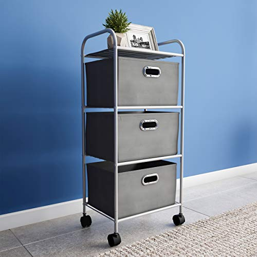 Lavish Home 3 Drawer Rolling Cart on Wheels- Portable Metal Storage Organizer with Fabric Bins for Home, Office, Dorm Room and Classroom (Utility 3 Drawer Tower)