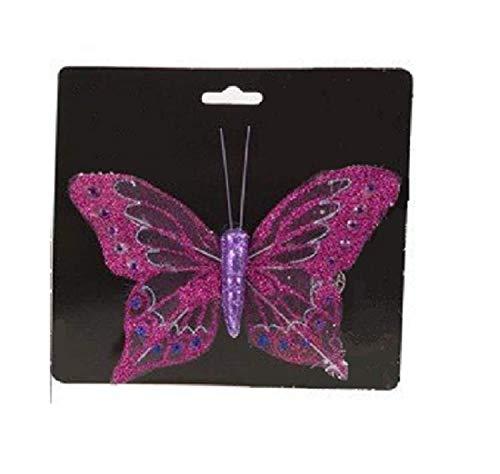 PM38 trimmer 16cm rosa bellissimo albero di Natale delle farfalle scintillante decorazione