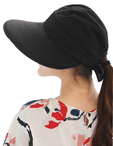 Bellady Women's Visor Hats UV Protection Summer Sun Hats Wide Brim Cap, Black