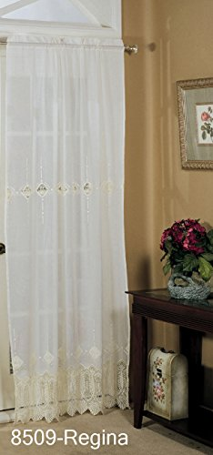 Embroidered Lace Cutwork Window Curtain Panel 42″ x 84″ IVORY One Piece REGINA
